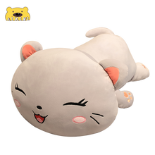 Cute Plush Happy Cat Stuffed Toys Lying Cat Plush Toys Lovely Kawaii Pillow Cartoon Soft Toys for Children Girls Christmas Gift cheap AIXINI Other 3 years old Unisex Keep away from fire Popular Plush Pillows