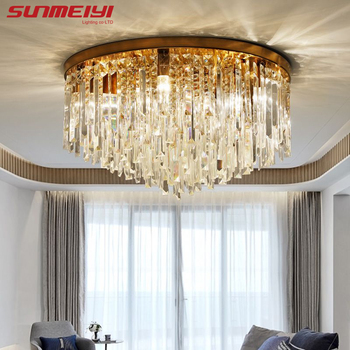good quality clear ring led ceiling lamp crystals flush mounted living room lights lampara led techo for home fast shipping Modern Crystal Ceiling Lights Led Corridor Lighting Ceiling Lamp For Living room Kitchen Gold Bed Room Light lampara led techo