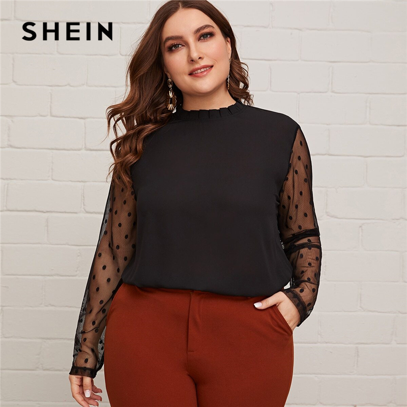 SHEIN Plus Size Black Frill Neck Sheer Dobby Mesh Sleeve Curved Hem Blouse Women Office Lady Elegant Plus Tops And Blouses