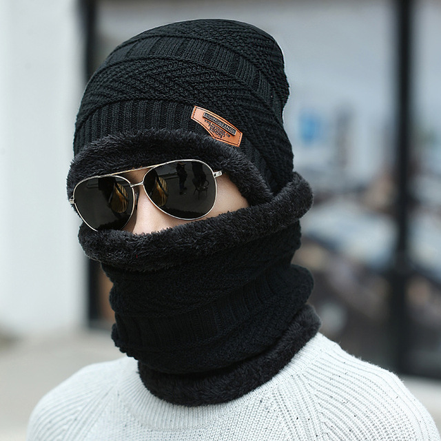 Winter hat Peas man scarf set plus velvet thick men's face caps hood woman outdoor ear protection neck warm scarf knitted hat 5
