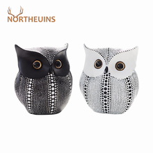 NORTHEUINS Nordic Resin Wise Owl Figurines Animal Statue Sculpture Crafts for Home Interior Decor Desktop Table Decoration Gifts