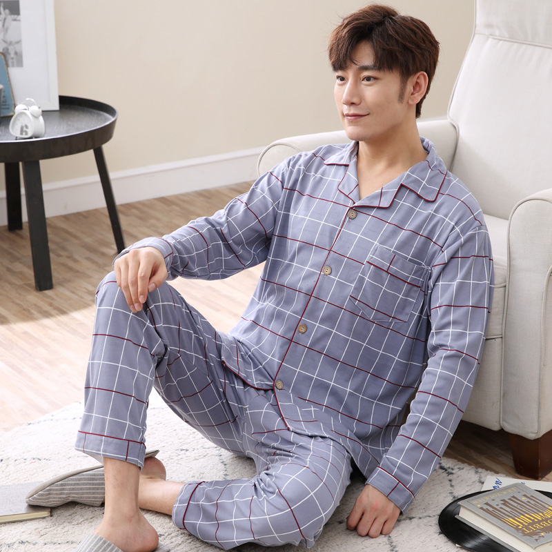 2020 Spring Casual Plaid Cotton Pajama Sets For Men Long Sleeve Cardigan Sleepwear Pyjama Male Homewear Loungewear Home Clothes