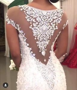 Image 2 - Custom Made Mermaid Lace Crystal Beaded Diamond Sexy Luxurious Wedding Dresses RP38