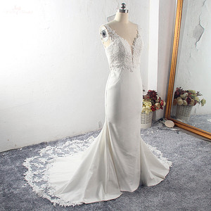 Image 2 - RSW1591 Vestido De Noiva Strech Satin Lace Mermaid Wedding Dresses 2020 Mouwloze Cut Out Trein