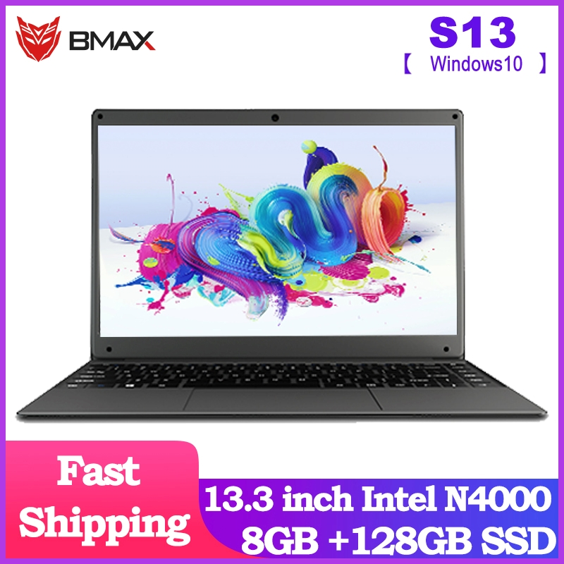 NEW ARRIVAL BMAX S13 13.3 Inch Intel Laptop Window10 Notebook 8GB LPDDR4 128GB SSD 1920*1080 IPS Intel N4000 Laptops 10000mAh