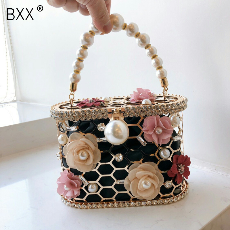 [BXX] Metal Pearl Evening Clutch Bag Women Fashion Style Handmade Bucket Purses and Handbag Ladies Hollow Out Flower Party HJ898