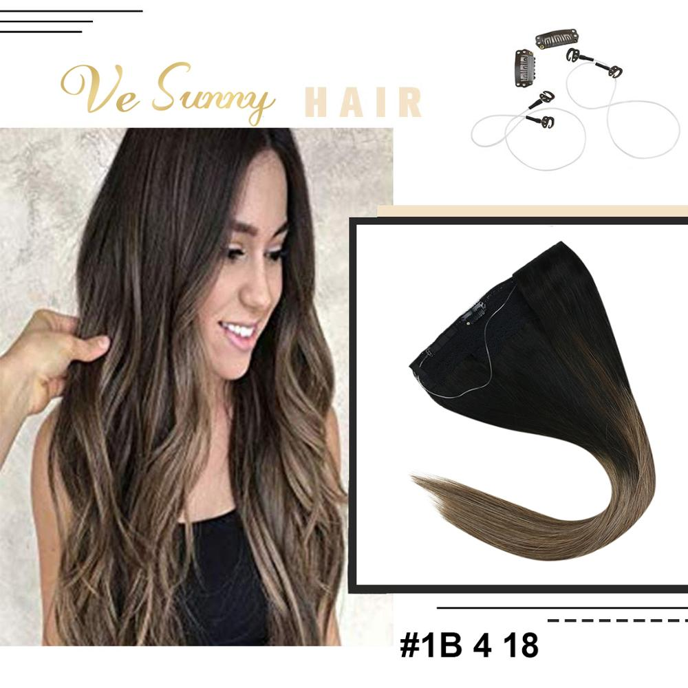 VeSunny One Piece Invisible Halo Hair Extensions Human Hair Flip Wire With Clips Balayage Ombre Brown Mix Ash Blonde #1B/4/18