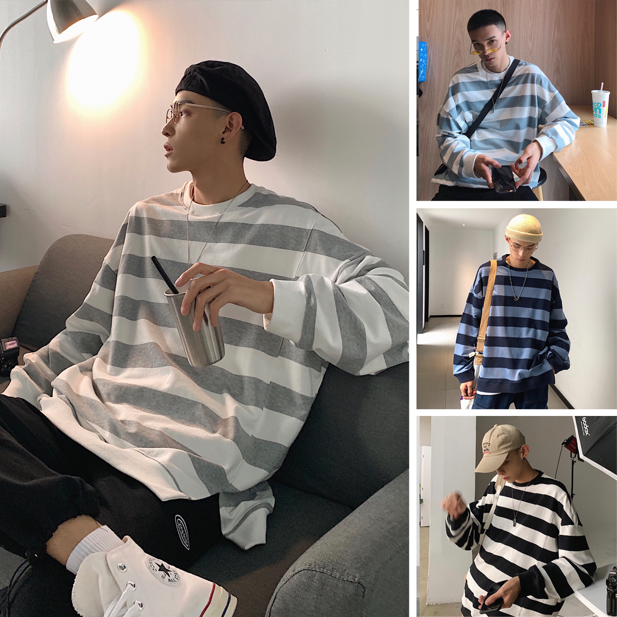 Privathinker Men Woman 2019 New O-Neck Loose Sweatshirts Mens Striped Korean Hoodies Male Colorful Sweatshirt Clothes Autumn