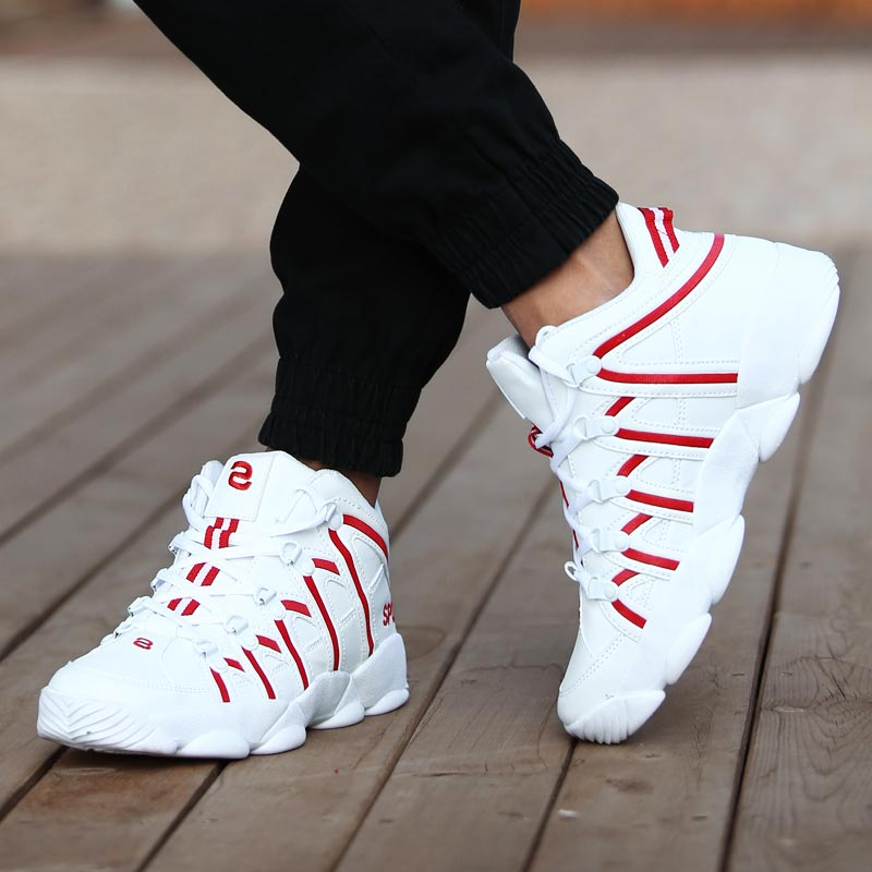 PU Leather Sneakers For Men Running Shoes Sports Women Shoes Sport Men White Red Mens Athletic Shoes Gym Trainers Workout B-383