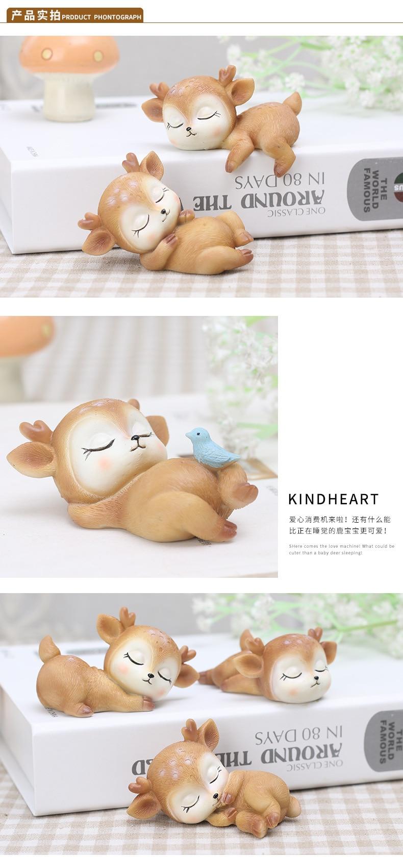 Cute Deer Figurines  Miniature Animal Ornaments Toy Fawn Fun Decor