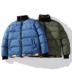 Image 4 - 2019 สะโพกHop REVERSIBLE Parkaที่มีสีสันสัตว์สีCamouflage Streetwearผู้ชายHarajukuเสื้อกันหนาวเสื้อขนแกะฤดูหนาวZip