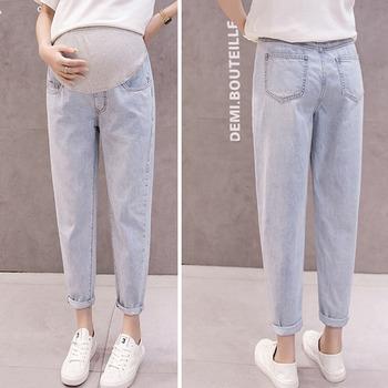Denim Haren spodnie jeansy ciążowe dla kobiet w ciąży ubrania luźne spodnie typu casual chłopak jeansy ciążowe spodnie odzież tanie i dobre opinie XEIOBB Natural color light COTTON Poliester spandex WOMEN Macierzyństwo Elastyczny pas