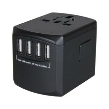 Universal Power Travel Adapter,International Adapter Smart 2.4A 4 USB, European Converter,Plugs Adapters Europe, C