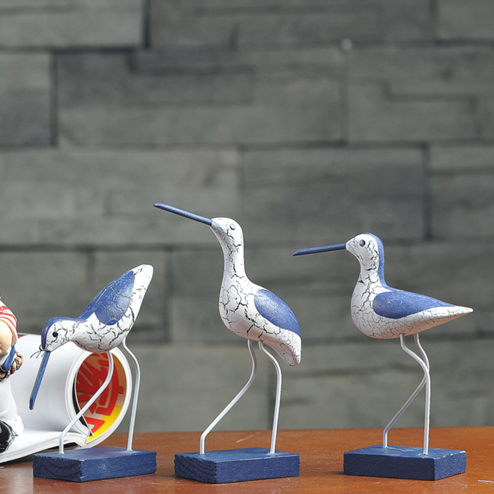 3 Pcs Mediterranean Style <font><b>Wooden</b></font> <font><b>Seabird</b></font> Decoration <font><b>Seabirds</b></font> Sculpture Ornaments for Home Devoration (Mixed) image