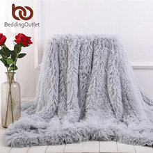 BeddingOutlet-couverture épaisse fausse fourrure | Couverture de lit en peluche douce, plaid couverture en fausse fourrure moelleuse pour lits canapé manta livraison directe, couverture polaire