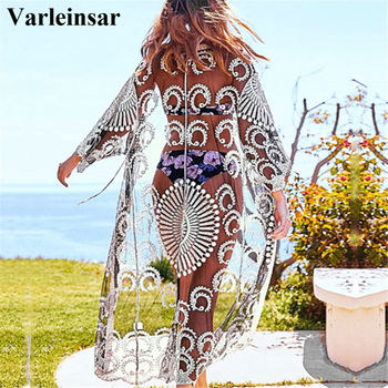 Black Embroidery Sunflower Crochet Bikini Cover Up Sexy Swimsuit Beach Dress Women 2020 Summer Bathing Suit Beachwear V2173