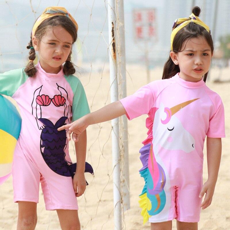 New Style Children Sun-resistant Cartoon One-piece Girls' Short Sleeve Shirt Swimwear Swimming Trunks Diving Suit Children GIRL'