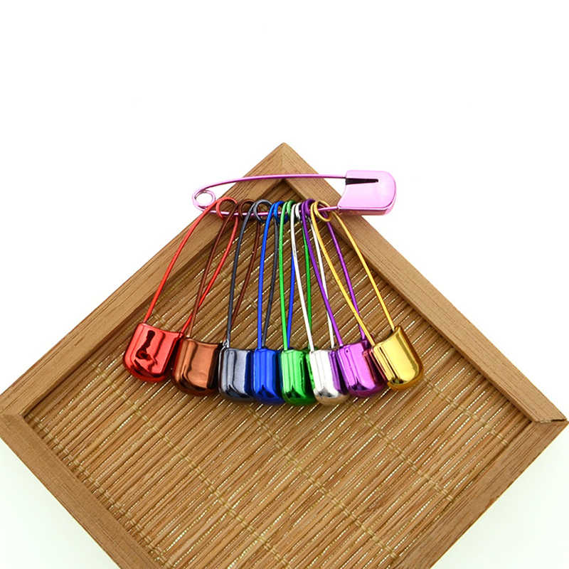 Hot 10Pcs Safety Pins Baby Kids Cloth Nappy Locking Brooch Buckles  Colorful Needle Pins 2 Size Sewing Tools