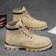 2020 Winter männer Stiefel Chunky Schuhe Trend All-spiel Mode Samt Boot Mann Koreanische Werkzeug Stiefel Hohe-top Warme Schuhe