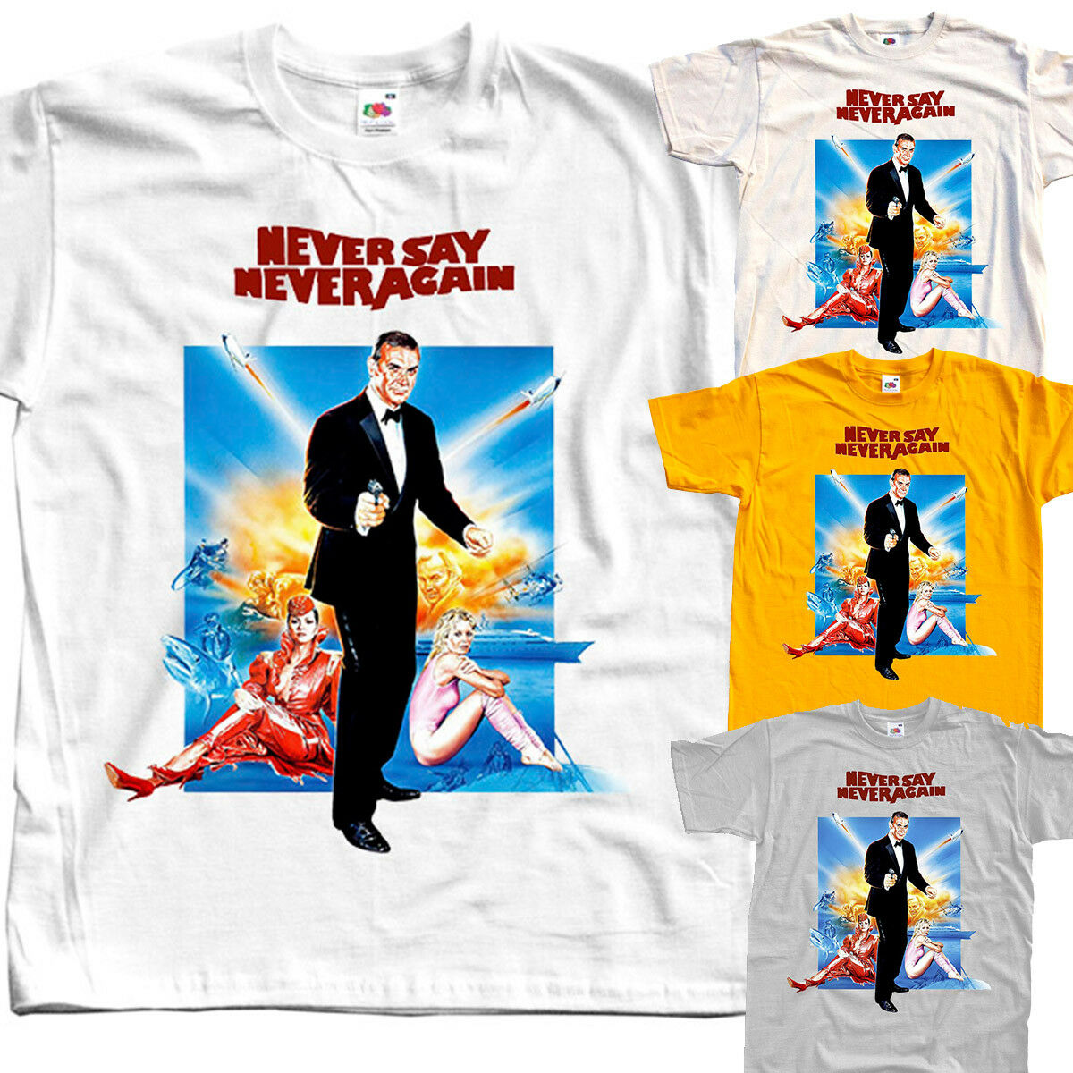 James Bond: Never Say Never Again V1, Movie, T-Shirt(WHITE) All Sizes S To 5XL image