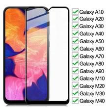 9D completa de vidrio templado para Samsung Galaxy A10 A20 A30 A40 A50 A60 A70 Protector de pantalla A80 A90 M10 M20 M30 M40 Glas película