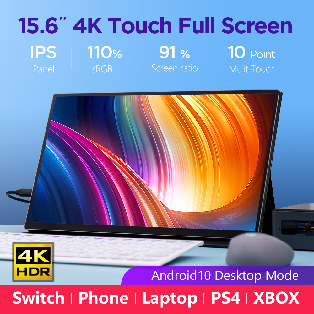 15,6 zoll 4K Tragbare Touch <font><b>Monitor</b></font> Mac Schalter PS4 XBOX Laptop HDR10 HDMI USB Typ-C IPS 1080P Full Screen Android Desktop modus image