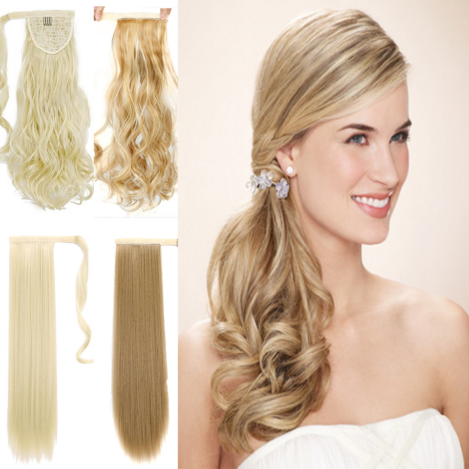 Buqi Long Wrap On Synthetic Wavy Ponytails For Women Natural Clip In Hair Extension Hairpieces Blonde False Hair