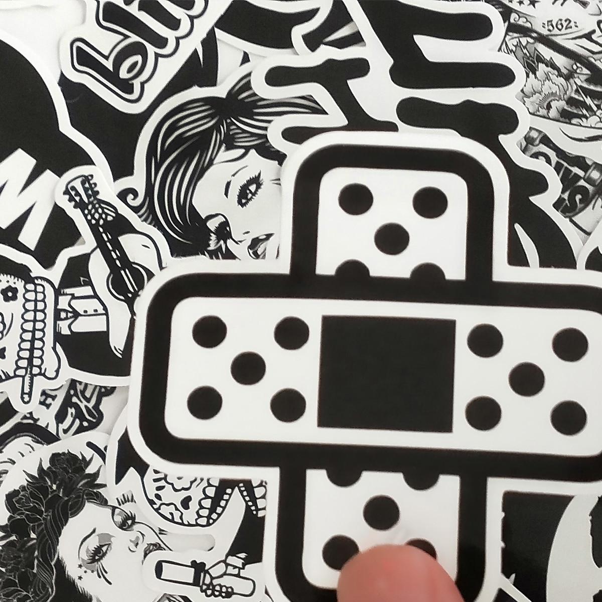 60/30 шт. Черный и белый металлический Сделай Сам наклейки для скейтборда ноутбук Чемодан сноуборд холодильник телефон игрушка Декор для дома