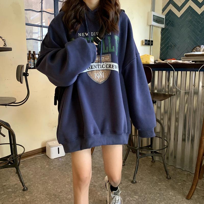 Women Sweatshirt Streetwear Thicken Hoodie Sweatshirt Printing Letter Autumn Winter Loose Lazy Student Pullover Female Tops