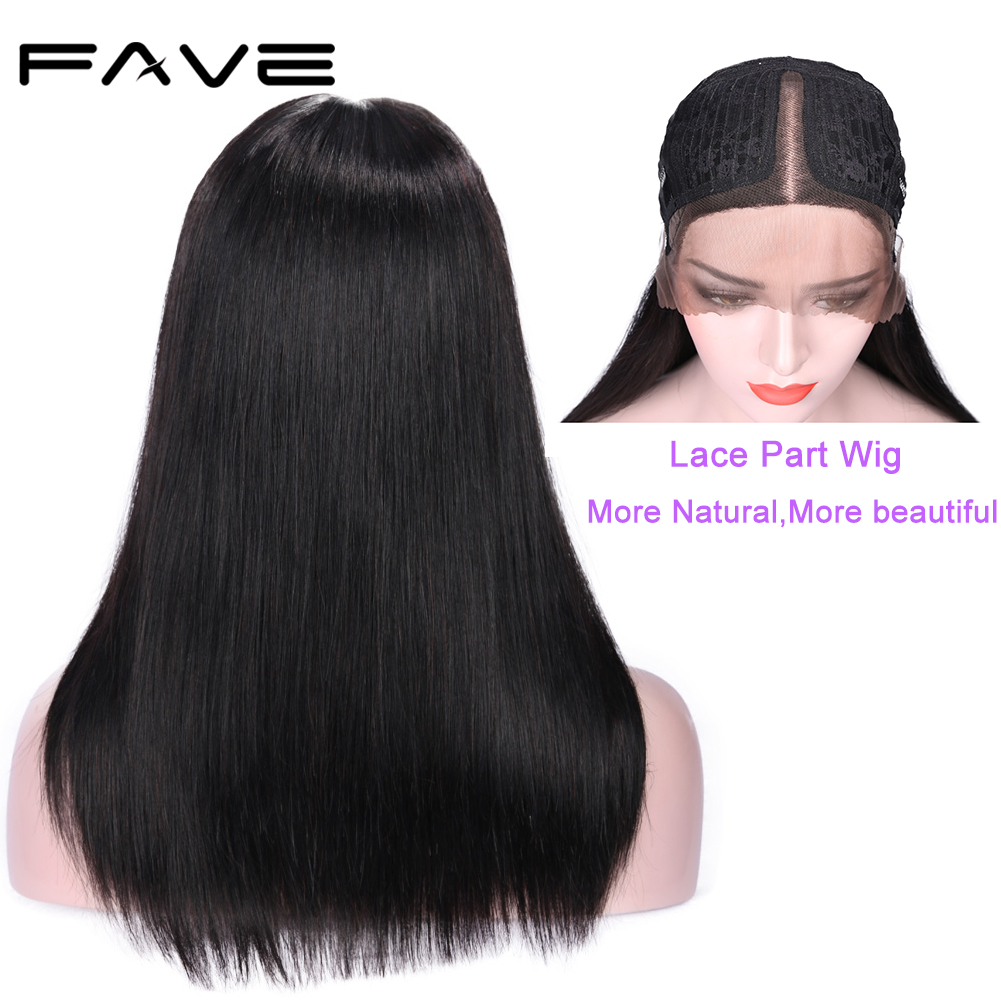 "FAVE Lace Human Hair Wigs Brazilian Middle Part Straight Hair Wig Half Hand Tied 150% Density Natural Color 12-18"" Free Shipping"