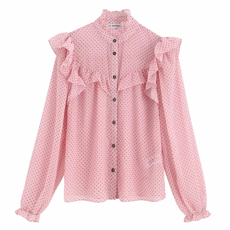 2019 Women Sweet Cascading Ruffles Dots Printing Casual Blouse Shirts Female Long Sleeve Chiffon Chemise Chic Blusas Tops LS4170