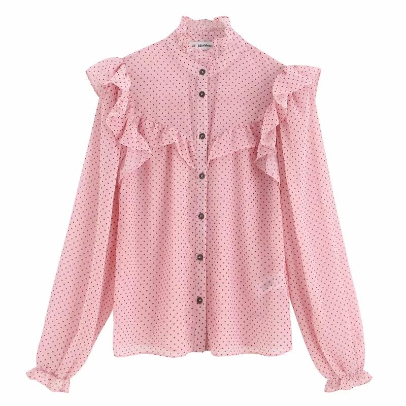 2019 Women Sweet Cascading Ruffles Dots Printing Casual Blouse Shirts Female Long Sleeve Chiffon Chemise Chic Blusas Tops LS4170