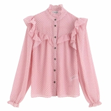 2019 women sweet cascading ruffles dots printing casual blouse shirts