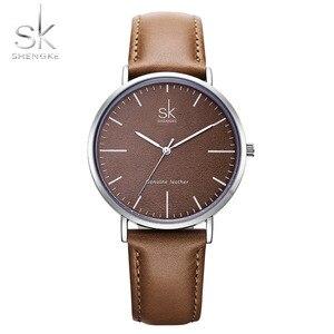 Image 1 - Nieuwe Shengke 40Mm Dial Lady Quartz Horloge Groen Lederen Casual Stijlvolle Vrouwen Horloges Geschenkdoos Relogio Femininostreet