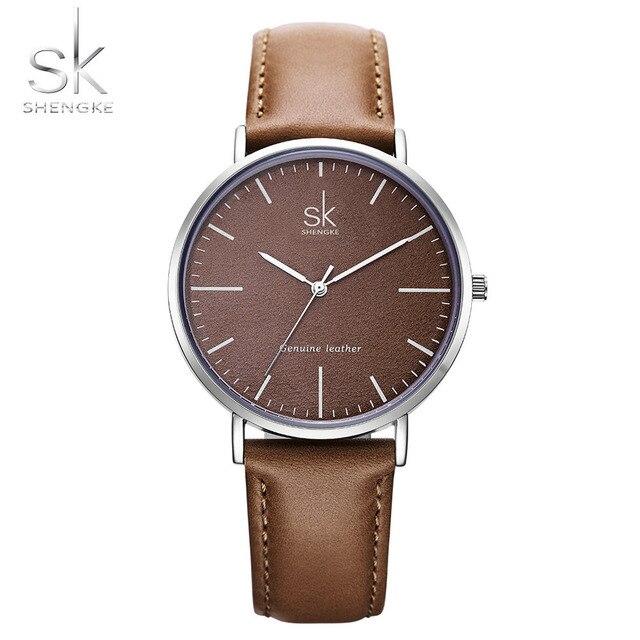 Nieuwe Shengke 40Mm Dial Lady Quartz Horloge Groen Lederen Casual Stijlvolle Vrouwen Horloges Geschenkdoos Relogio Femininostreet