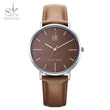 חדש Shengke 40mm חיוג ליידי קוורץ שעון ירוק עור אמיתי מזדמן אופנתי נשים שעונים אריזת מתנה Relogio femininostreet