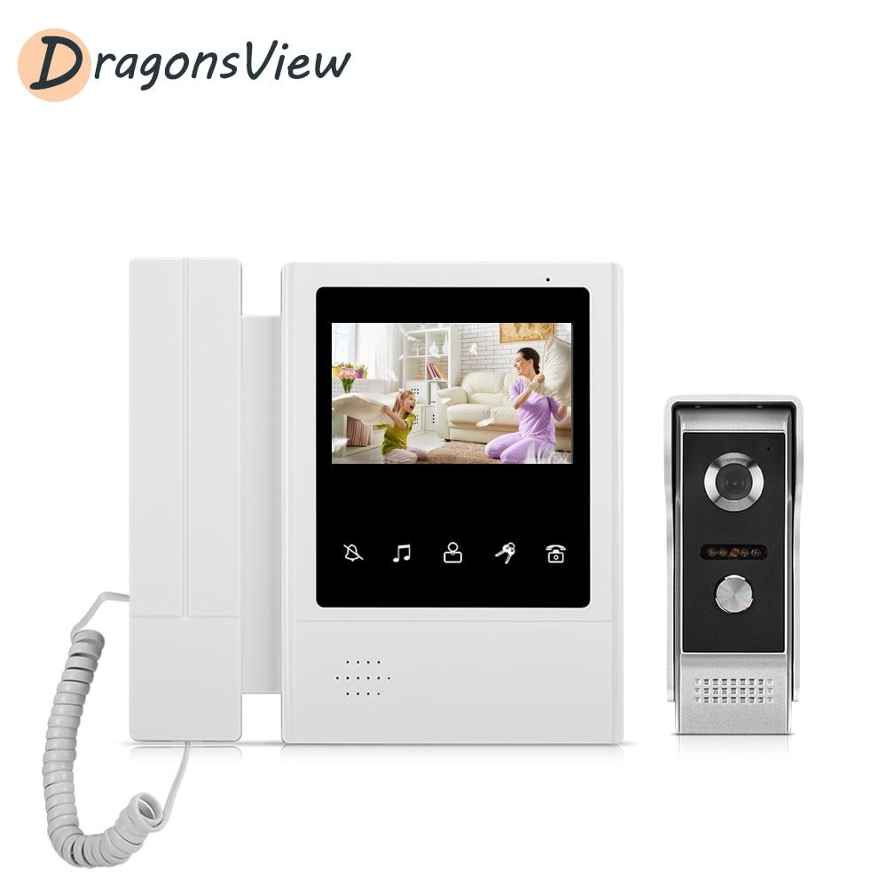Dragonsview4.3 Inch Video Door Phone Wired Doorbell Visual Intercom 1000TVL Rainproof Outdoor Panel Unlock For Home Security