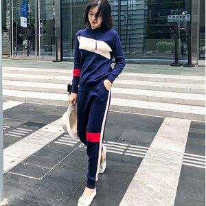Image 1 - Autunno molla ha lavorato a maglia tuta felpe Con Cappuccio delle donne dei vestiti del vestito 2 piece set maglia mutanda femminile vestito di pantaloni