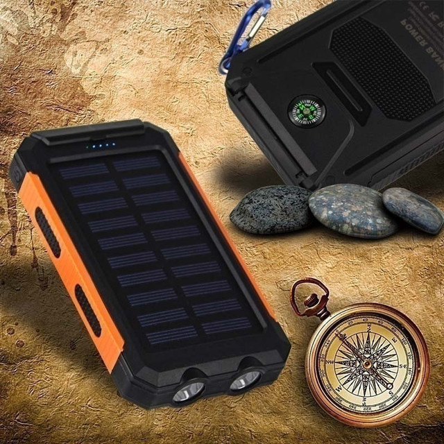 Portable 30000mAh Solar Power Bank Large Capacity Solar Panel Outdoor Travel Charger LED Light Fast Charge Waterproof Charger 2
