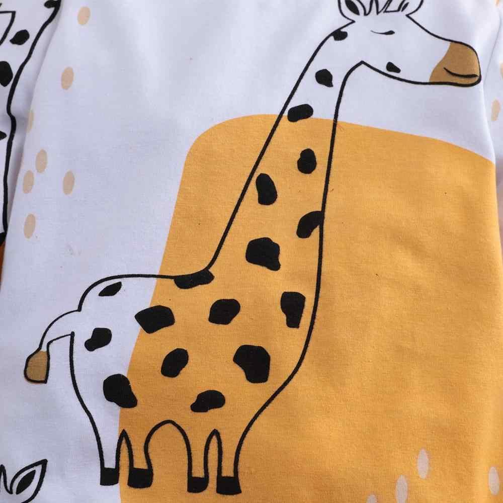 PatPat Baby Boy Girl nadruk z żyrafą kombinezon z długim rękawem dół Snap wiosna jesień zima wokół szyi z długim rękawem bawełna