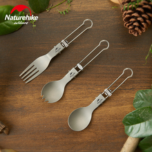 Naturehike Portable Tableware Lightweight Foldable Outdoor Camping Titanium Spoon Fork Knife Spork Cutlery Sets Camping Cutlery titanium fork spoon tool camping titan spork spoon cutlery titanium knife fork ultralight pure titanium tools alloy