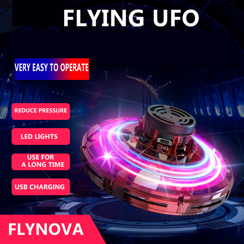 Flynova Most Tricked-Out Spinner Hand Flying Spiner Finger Game Toys Mini UFO LED Drone Saucer Flying Disc Gift For Child
