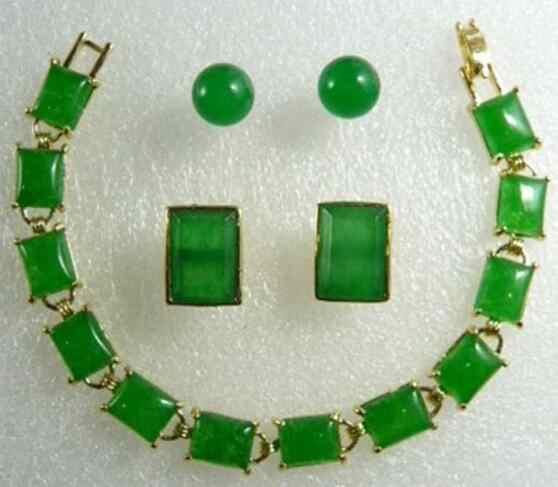 Schmuck Perle Set Mode Damen Natürliche Grüne Jadeit Ohrring + Manschettenknöpfe + Armband Schmuck Sets Freies Verschiffen