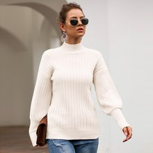 Fashion Women Solid Turtleneck Sweater Knitt Pullover Long Sleeve O-Neck Tops Loose Blouse