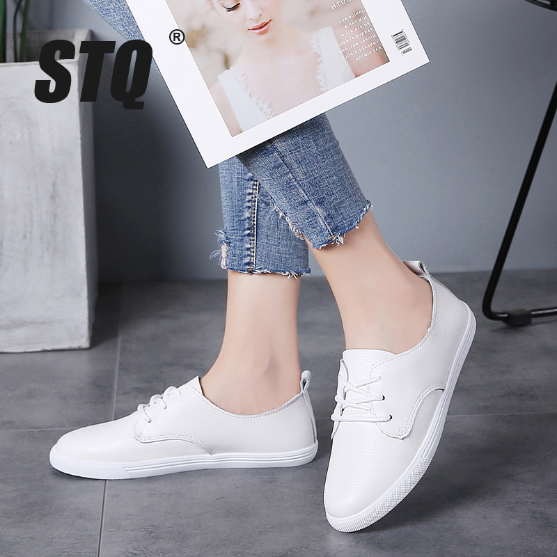 STQ Autumn Women Loafers Shoes Women Genuine Leather Casuals Sneakers Shoes Slip On Women Winter Flats Walking Shoes 8833
