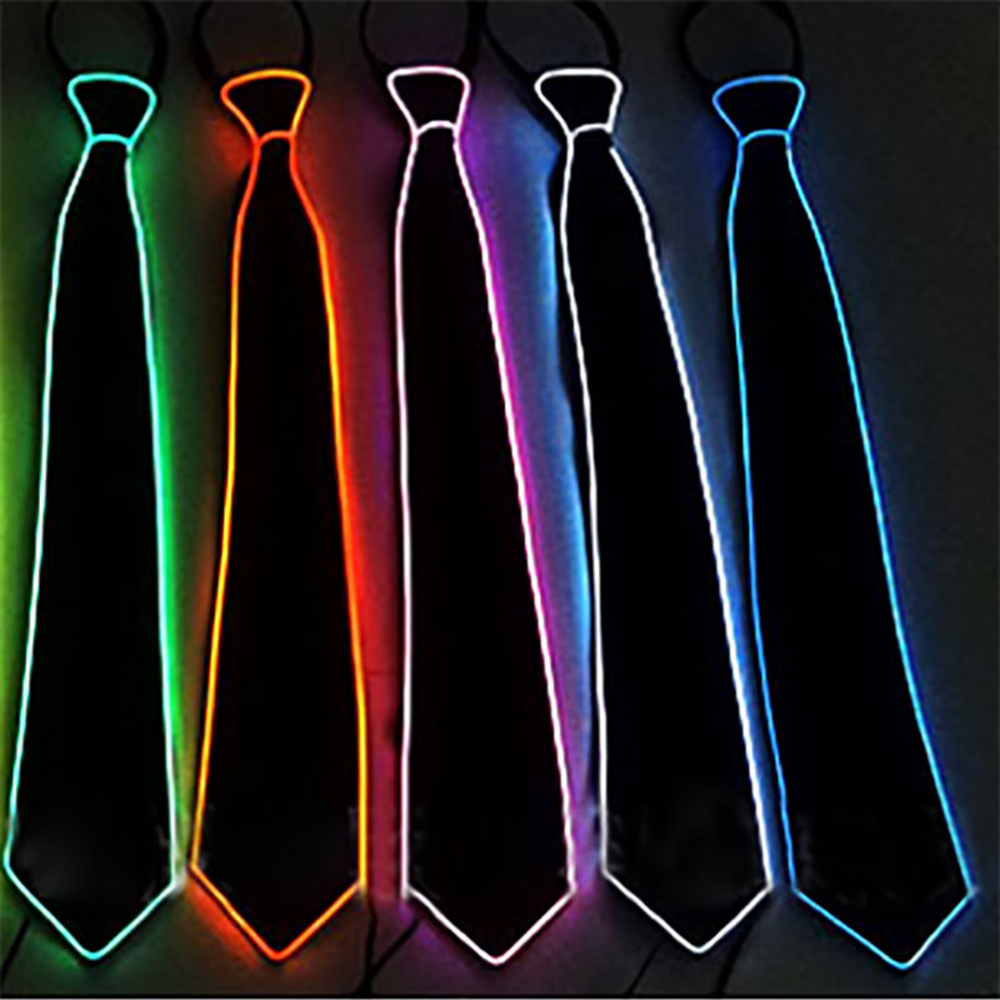 New Unisex Casual Light Tie Show Party LED Tie Bar Night Show Fashion Personality Fun Decoration Accessories Stage Costume