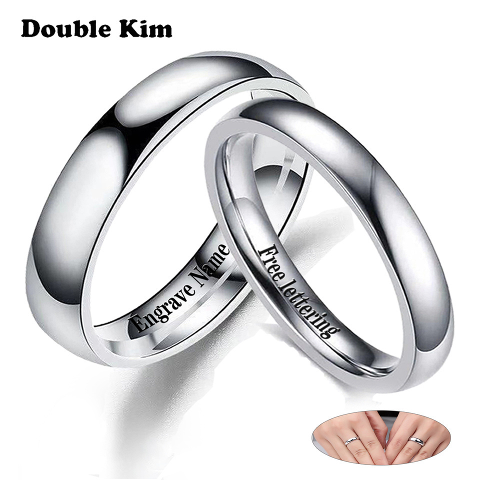 I LOVE YOU Couple Rings DIY Engrave Name Date Stainless Steel Unisex Wedding Rings for Women Men Lover Anniversary Jewelry Gift(China)