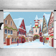 Winter Snow Comics Cartoon Background Photography City Building Christmas Party Children Photographic Backdrops For Photo Studio 10x20ft snow winter scenic photographic theme background hand painted muslin photography christmas backdrops k2020