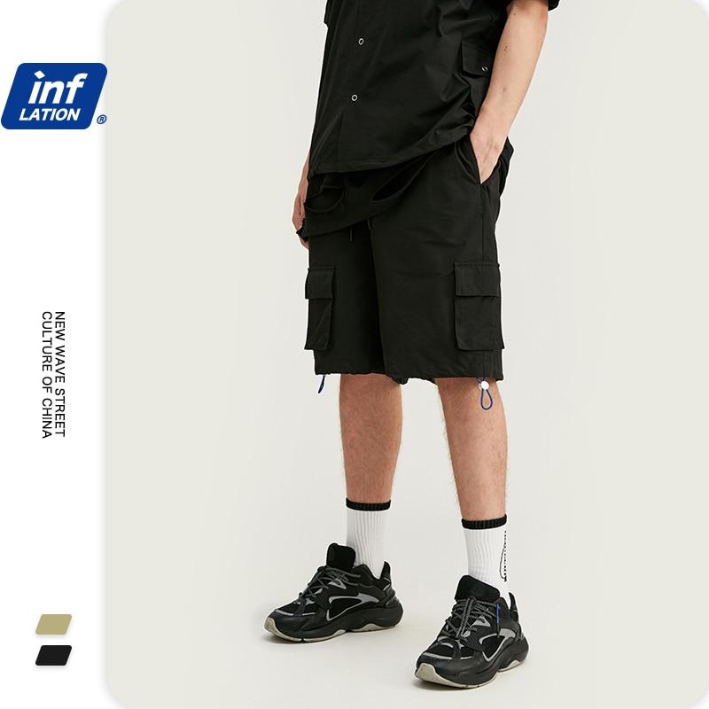 INFLATION Solid Harem Pants Elastic Waist Men Casual Shorts Loose Pockets Mens Shorts Cotton Hip Hop Polyester Men Shorts3034S20