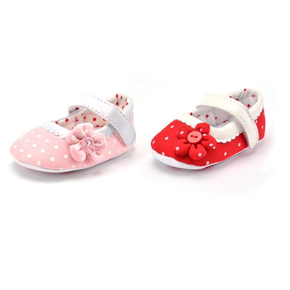 Baby Girl Shoes Toddler Infant New Cotton Outdoor Walking Shoes Fabric Soft Sole Polka Dot Prewalker Baby Crib Shoes Pink Heart